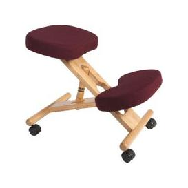 image-Wood Framed Kneeling Chair, Burgundy