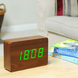image-Modern Digital Birch Solid Wood Electric Alarm Tabletop Clock Symple Stuff Finish: Walnut/Green
