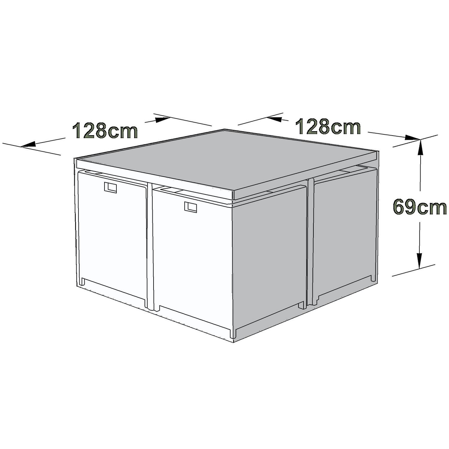 image-Maze Rattan Outdoor Furniture Cover for 4 Seat Cube Set