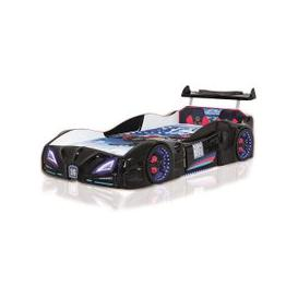 image-Buggati Veron Childrens Car Bed In Black With Spoiler And LED