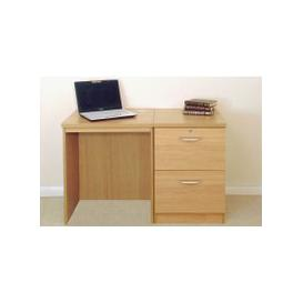 image-Small Office Desk Set With 2 Drawer Filing Cabinet (Classic Oak)