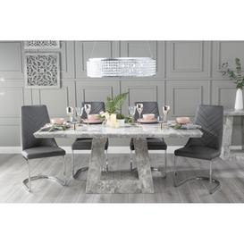 image-Mesilla 180cm Grey Marble Dining Table with 6 Nevada Dark Grey Brushed Metal Base Chairs