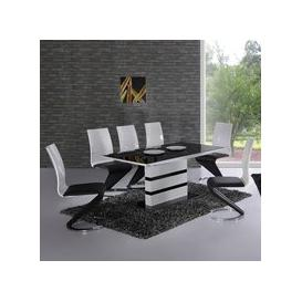 image-Arctica White Extending Black Glass Dining Table Only