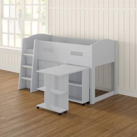 image-Agnew Single Mid Sleeper Bed with Furniture Set Mack + Milo Colour: White