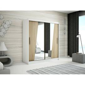 image-Rhomb 2 Door Sliding Corner Wardrobe Minio Size: 200cm H x 180cm W, Finish: Matt White/Oak