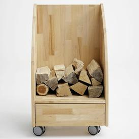 image-Brittany Solid Wood Firewood Storage Cart Gracie Oaks