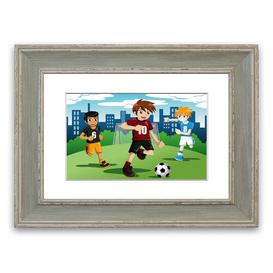 image-'Football Kids' Framed Graphic Art East Urban Home Size: 93 cm H x 126 cm W, Frame Options: Blue
