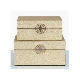 image-Set Of 2 Gold Faux Stingray Leather Jewellery Boxes