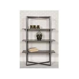 image-Tate Wooden Low Bookcase In Grey With Steel Frame