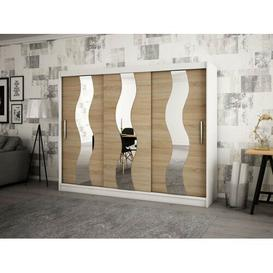 image-Margrete 2 Door Corner Wardrobe Ebern Designs Size: 200cm H x 180cm W, Finish: Matt White/Sonoma Oak