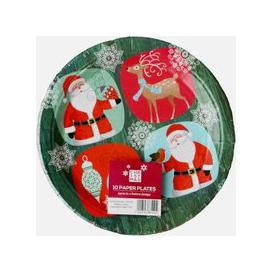 image-Large Christmas Paper Plates 10 Pack - Santa And Rudolph Design