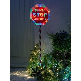 image-Festive Indoor/Outdoor 110 Cm Santa Stop Here Sign With Multi Coloured Lights