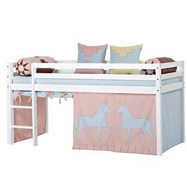 image-Basic Indian Girl Mid Sleeper Bed with Curtain Hoppekids Size: European Single (90 x 200cm)