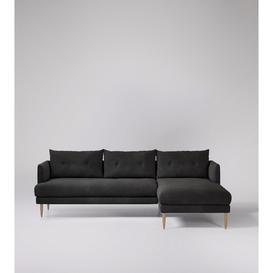 image-Swoon Kalmar Corner Sofa in Slate Smart Leather With Light Feet
