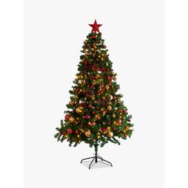 image-John Lewis & Partners Galloway Fir Pre-Lit & Decorated Christmas Tree, Gold / Multi, 7ft