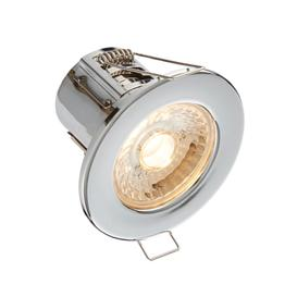 image-8W SMD LED Fire Rated Downlight, Dimmable, IP65 Rated, Chrome Finish - Warm Light 3000K.