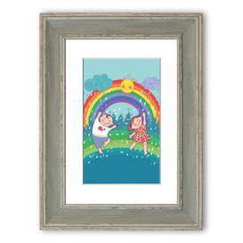 image-'Rainbow Kids' Framed Graphic Art East Urban Home Size: 40 cm H x 30 cm W, Frame Options: Blue