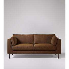 image-Swoon Nero Three-Seater Sofa in Brown Smart Leather With Dark Feet