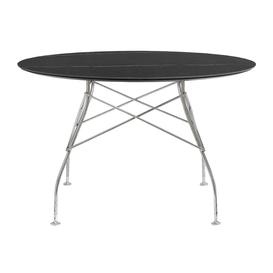 image-Kartell - Glossy Chrome Round Table - Black Marble