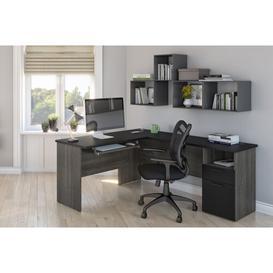 image-Peebles L-Shaped Executive Desk Blue Elephant Colour: Black/Bark Grey