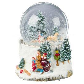 image-Premier 10cm Musical Forest Scene Christmas Snow Globe