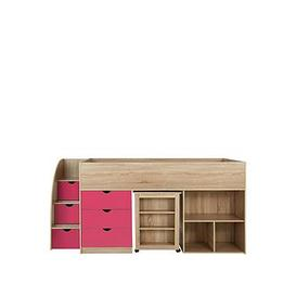 image-Mico Mid Sleeper Bed With Pull-Out Desk And Storage - Oak Effect/Pink - Mid Sleeper With Premium Mattress
