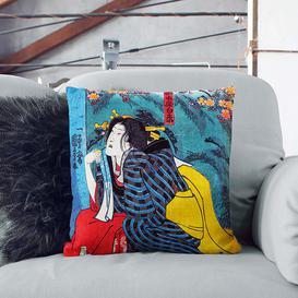 image-Kneeling Woman by Utagawa Kuniyoshi Cushion with Filling