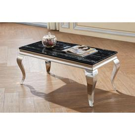 image-Bambi Black Natural Stone With Marble Effect Coffee Table&amphellip