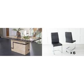 image-Urban Deco Venice 160cm Cream Marble Dining Table and 6 Miami Black Chairs