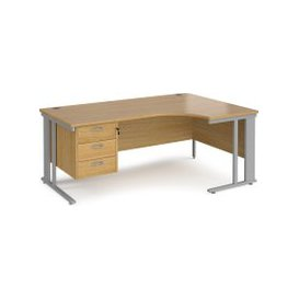 image-Value Line Deluxe Cable Managed Right Hand Ergo Desk 3 Drawers (Silver Legs), 180wx120/80dx73h (cm), Oak, Free Next Day Delivery