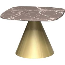 image-Gillmore Space Oscar Brown Marble Small Square Side Table with Brass Conical Base