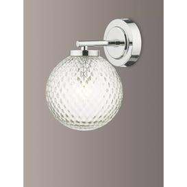 image-Där Wayne Textured Glass Bathroom Wall Light, Clear/Polished Chrome