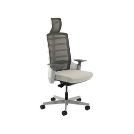 image-Next-Day Arcadia Grey Mesh Back Posture Chair With Fabric Seat (Light Grey), Free  Delivery