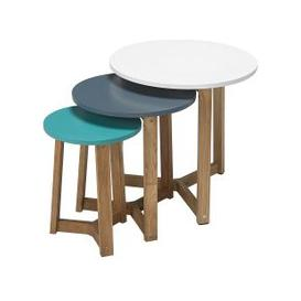 image-Armenia Wooden Nest of 3 Tables Round In Multicolor