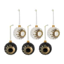 image-A by AMARA Christmas - Sun & Moon Bauble - Set of 6 - Black/Wool White