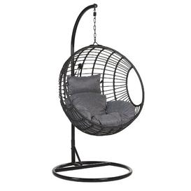 image-Yvette Swing Chair with Stand Freeport Park Colour (Frame): Black, Colour (Cushion): Dark Grey