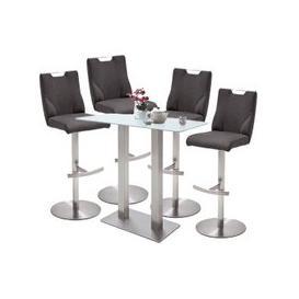 image-Soho Glass Bar Table With 4 Jiulia Anthracite Leather Stools