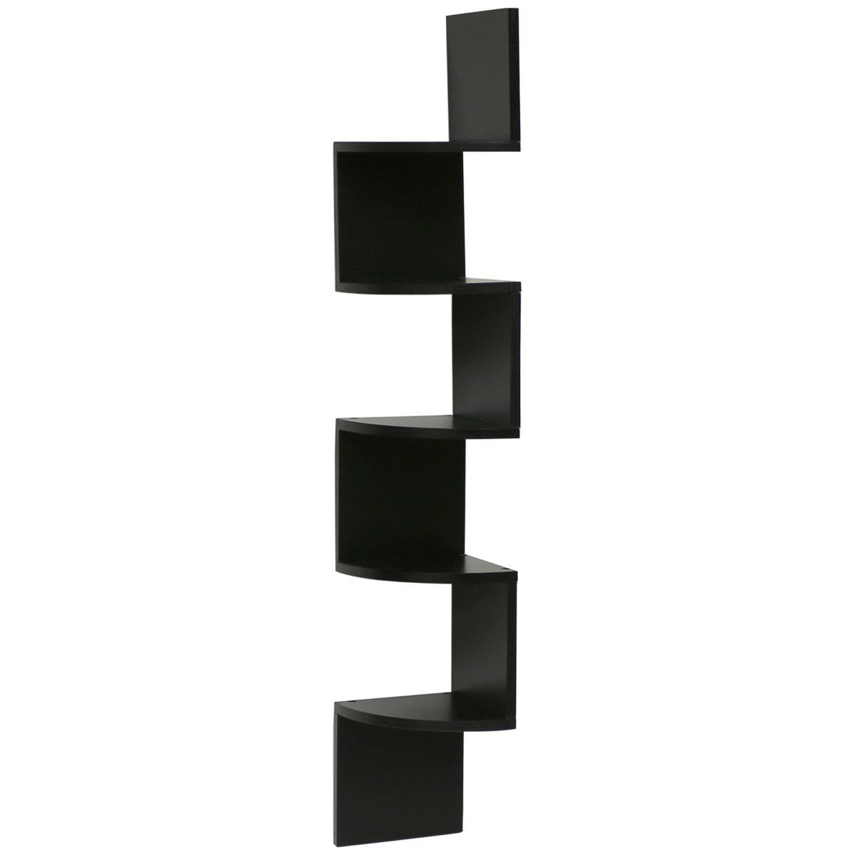 image-Hartleys Zig Zag Corner Wall Shelf Unit - Black - Large