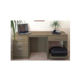 image-Small Office Desk Set With 3+1 Drawers & Printer Shelf (English Oak)