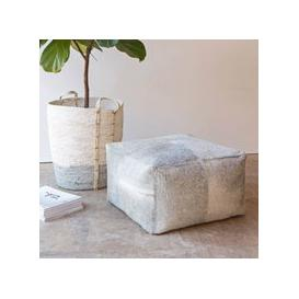 image-Square Grey Cowhide Pouffe