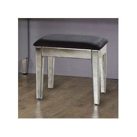 image-Marnie Mirrored Dressing Table With Black Cushioned Seat