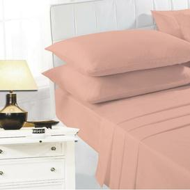 image-Brent 134 Thread Count Flat Sheet Zipcode Design Colour: Peach, Size: Super King (6')