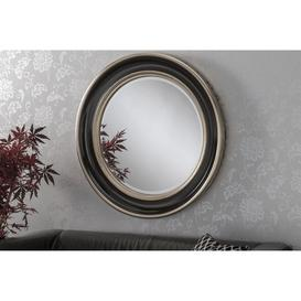 image-Byron Silver Beaded Round Wall Mirror 91cm, Black