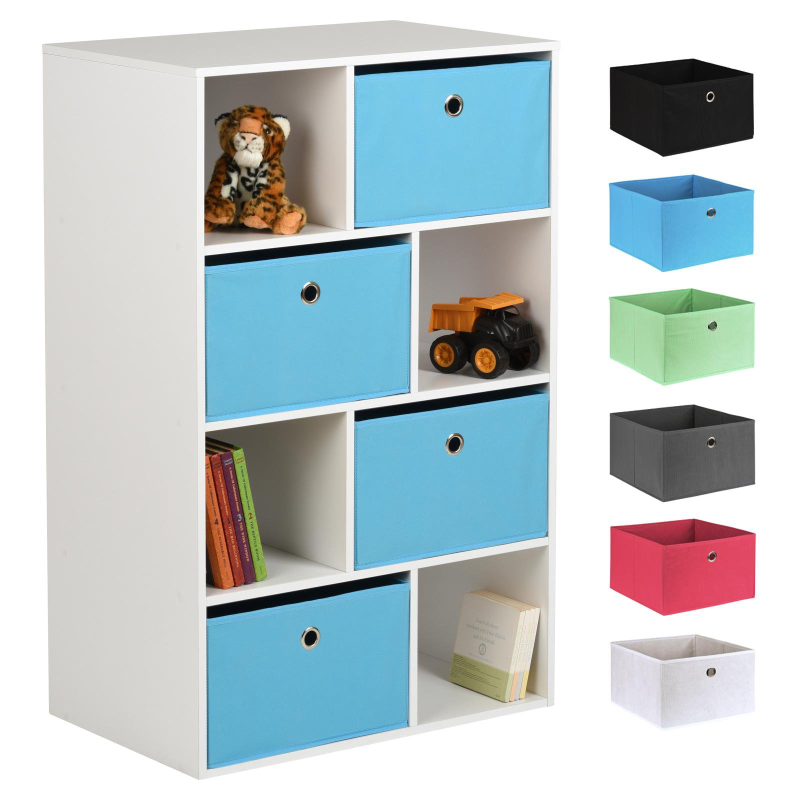 image-Hartleys White 8 Cube Kids Storage Unit & 4 Easy Grasp Box Drawers - Blue