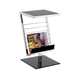 image-Mia End Table With Magazine Rack In Black Glass