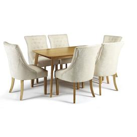 image-Sade Fixed Dining Set with 6 Chairs Ebern Designs Colour (Chair): Pearl