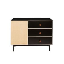 image-Essence Chest of drawers - / L 100 x H 75 cm - Wood & rattan by Maison Sarah Lavoine Black,Ivory,Natural rottan