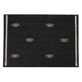 image-160x230cm patterned outdoor rug in black woven jacquard polypropylene