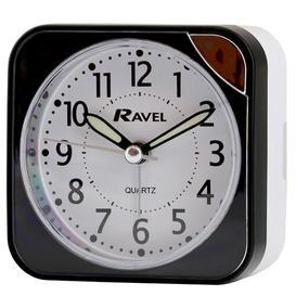 image-Albany Travel Analog Quartz Alarm Tabletop Clock Ravel Finish: Black/White