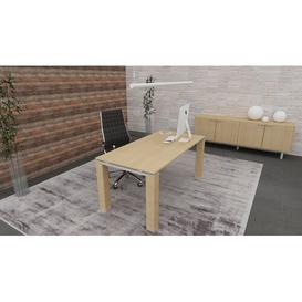image-Jannie Executive Desk Ebern Designs Colour: Natural Oak, Size: 72cm H x 200cm W x 100cm D
